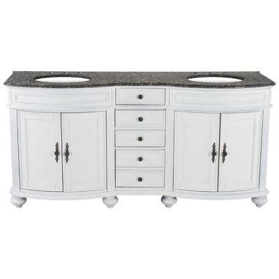 72 in. W x 23 in. D Solid Hardwood Double Vanity in Swiss White with Granite Top in Leopard