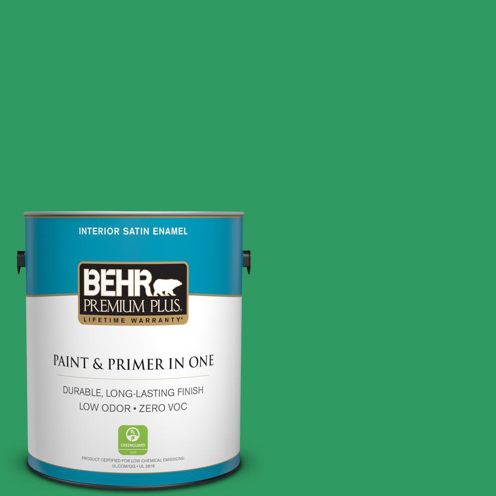 BEHR Premium Plus 1-gal. #S-G-450 Herbal Tea Zero VOC Satin Enamel Interior Paint