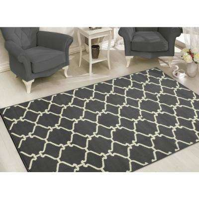 Clifton Collection Moroccan Trellis Design Light Grey 8 ft. x 10 ft. Area Rug