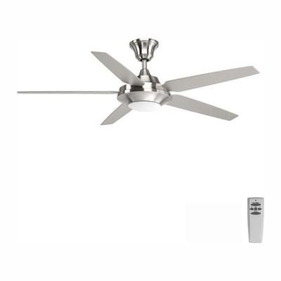 Signature Plus II Collection 54 in. LED Indoor Brushed Nickel Modern Ceiling Fan with Light Kit and Remote
