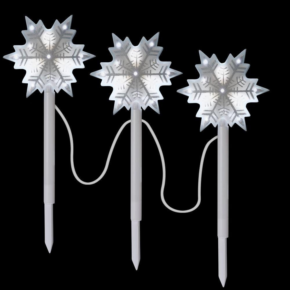 LightShow LED Snowflake Starry Night Path Markers (3-Pack)