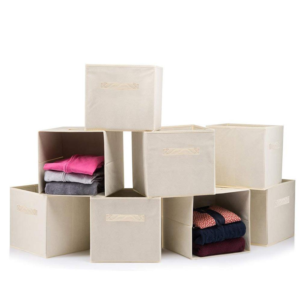 Home it 11 in. x 11 in. Beige Foldable Storage Boxes (8-Pack)