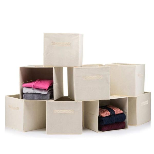11 in. x 11 in. Beige Foldable Storage Boxes (8-Pack)