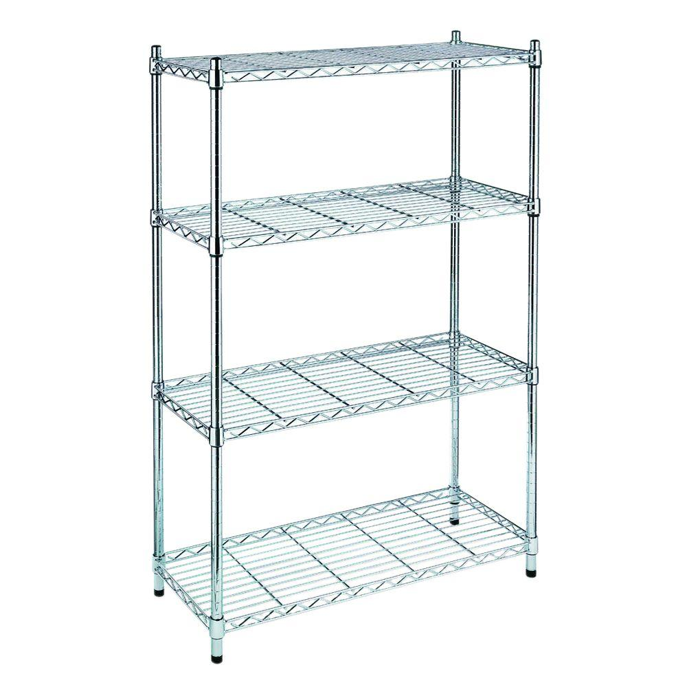 hdx 54 in h x 36 in w x 14 in d 4 shelf wire unit in chrome eh wsthdus 004 the home depot. Black Bedroom Furniture Sets. Home Design Ideas