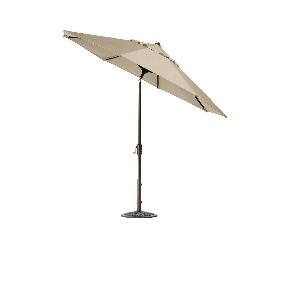 Home Decorators Collection 7.5 ft. Auto-Tilt Patio Umbrella in Flax Sunbrella with Bronze Frame