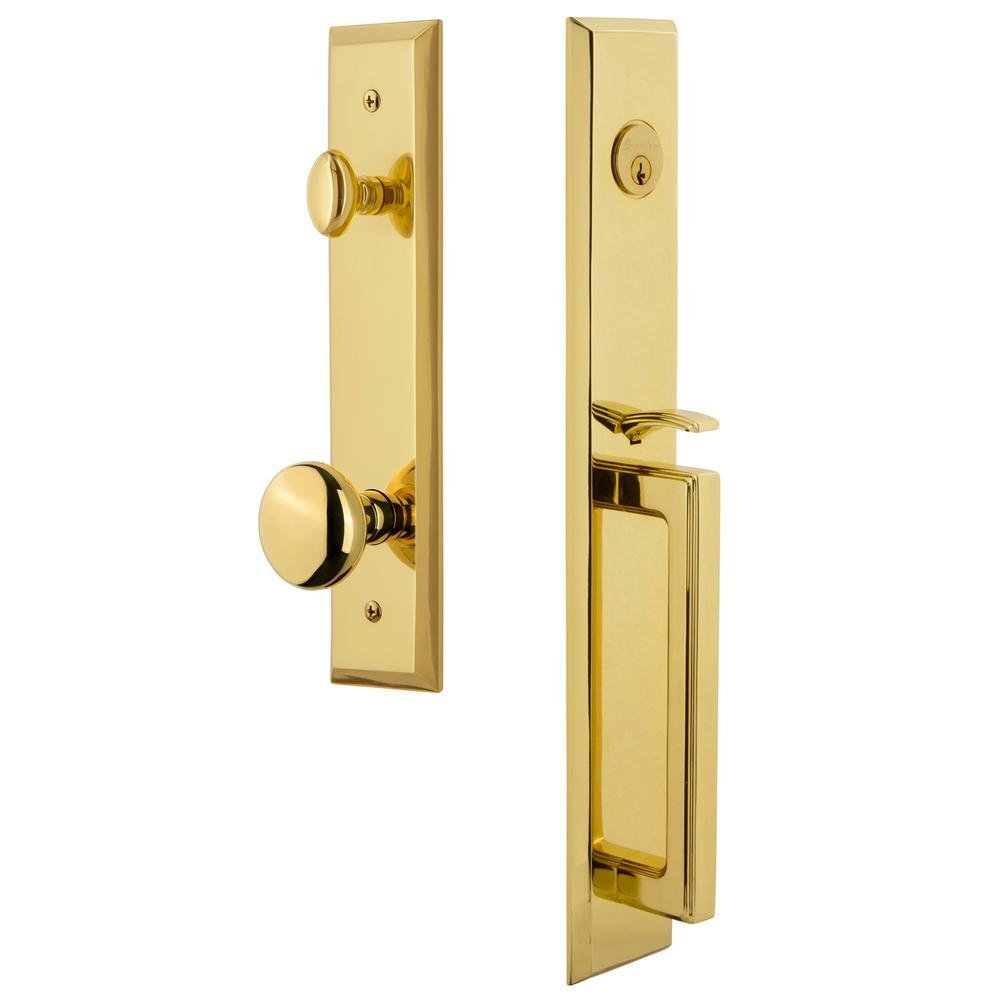 Fifth Avenue 2-3/4 in. Backset Lifetime Brass 1-Piece Door Handleset with D-Grip and Knob