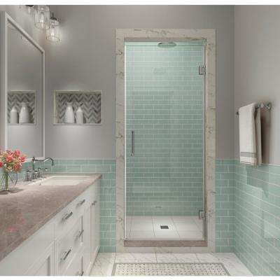 Kinkade XL 33.75 in. - 34.25 in. x 80 in. Frameless Hinged Shower Door with StarCast Clear Glass in Polished Chrome