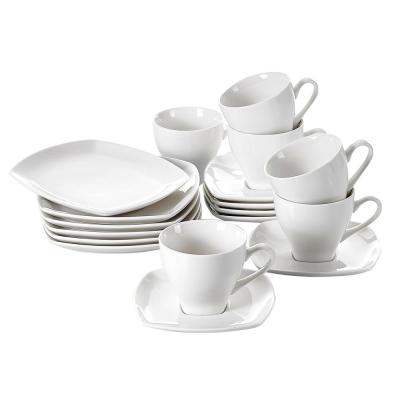 18-Piece Exquisite White Plates Cups and Saucers Dinnerware Set (Service for 6)