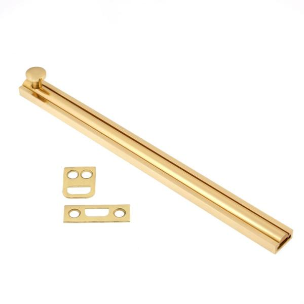 8 in. Solid Brass Polished Brass No Lacquer Surface Bolt