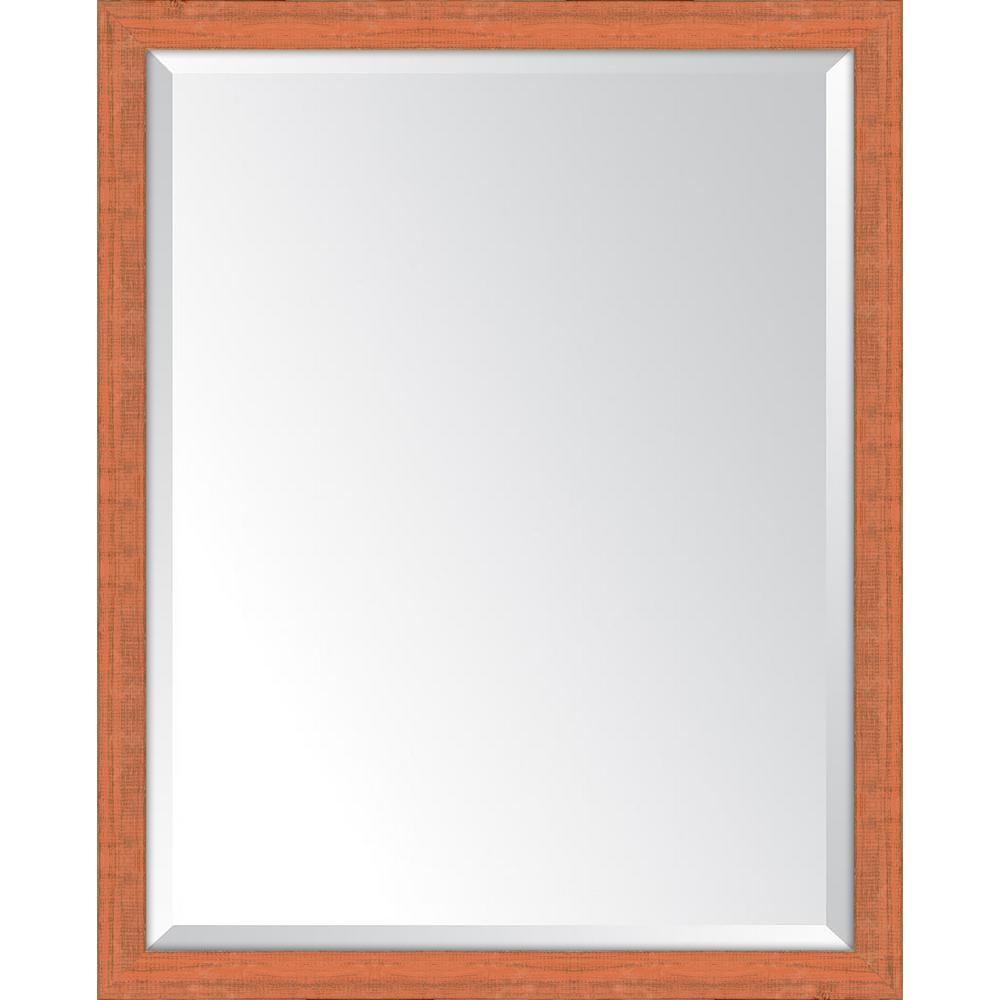 25 in. x 31 in. Framed Orange Mirror