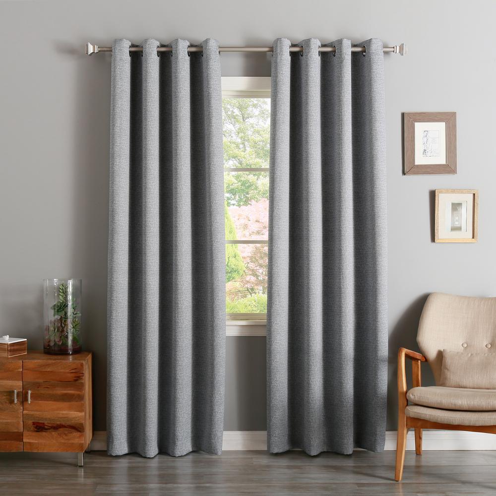 Best Home Fashion 96 in. L Grey Linen Print Room Darkenin...
