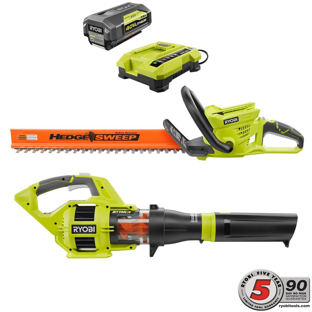 Ryobi 40-Volt Lithium-Ion Cordless Hedge Trimmer and Jet Fan Blower Combo Kit (2-Tool) - 2.6 Ah Battery and Charger Included