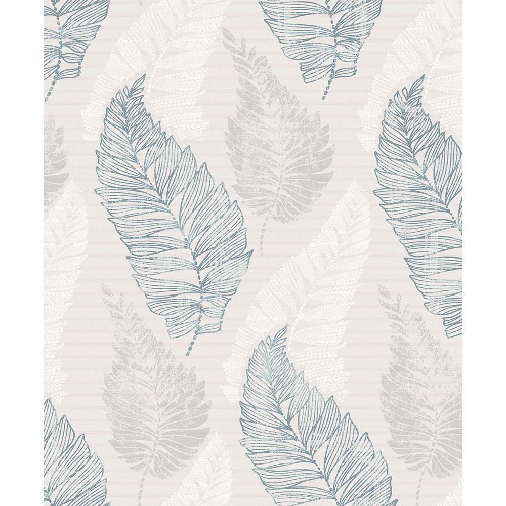 8 in. x 10 in. Rosemary Light Grey Leaf Wallpaper Sample