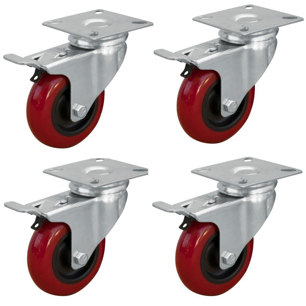 "Qty-2 Caster 3/"" Wheels RIGID NON SWIVEL Plate Polyurethane Wheels"