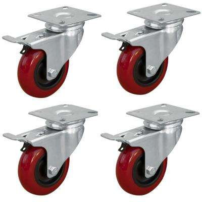 3 in. Dia Swivel Double Lock Polyurethane Plate Casters in Red (4-Pack)