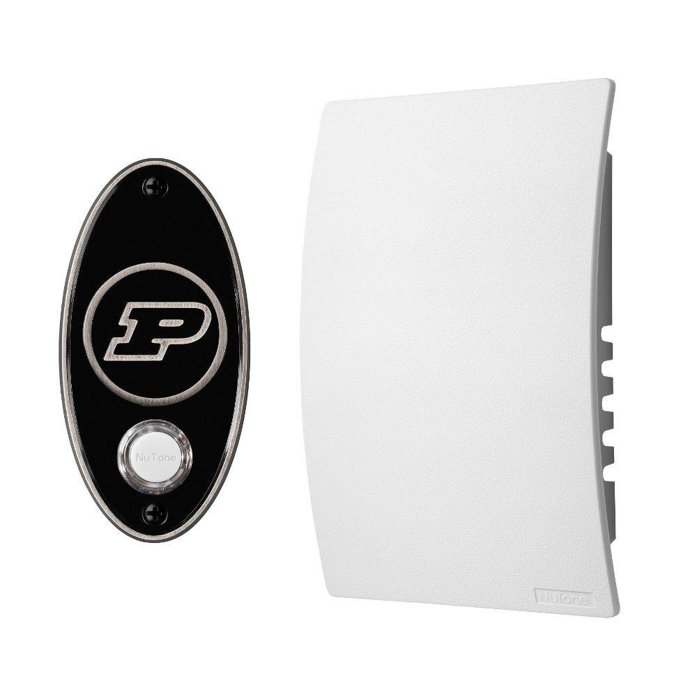 NuTone College Pride Purdue University Wired/Wireless Door Chime Mechanism and Pushbutton Kit - Satin Nickel