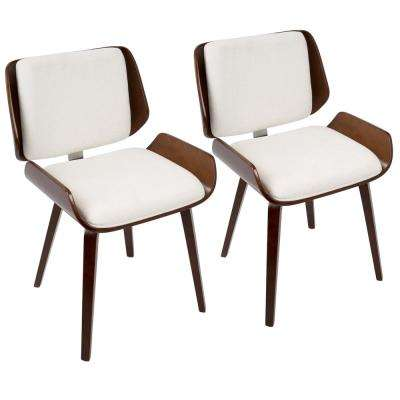 Santi White Faux Leather Dining/Accent Chair with Cherry (Set of 2)
