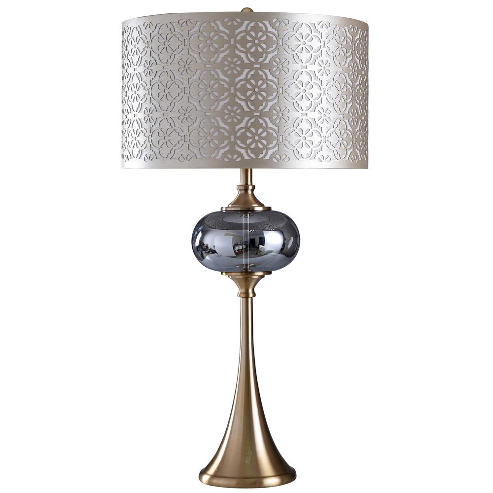 Beau StyleCraft. 38 In. Silver/Polished Table Lamp With Silver Metallic Styrene  Shade