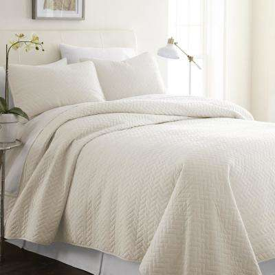 Herring Ivory Twin Performance Quilted Coverlet Set