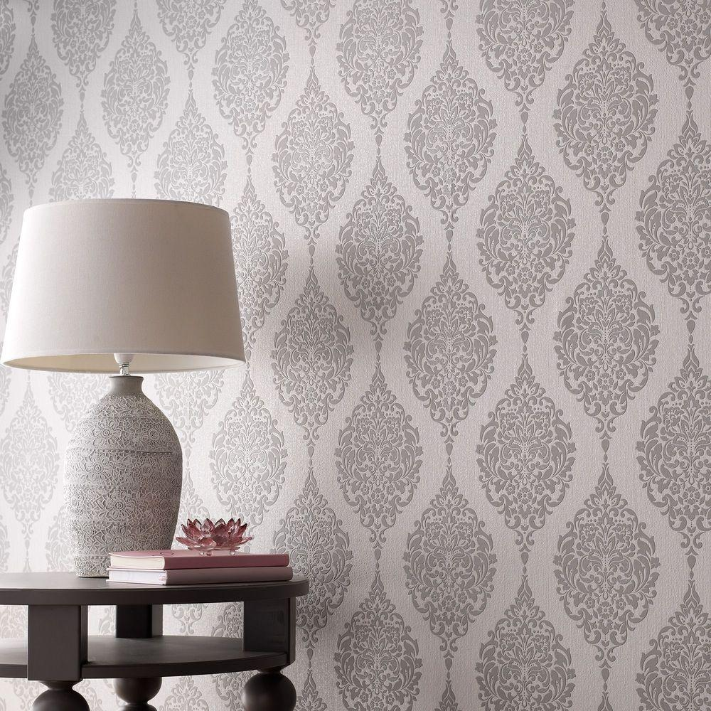 Graham brown grey luna wallpaper 20 740 the home depot for Wall to wall wallpaper