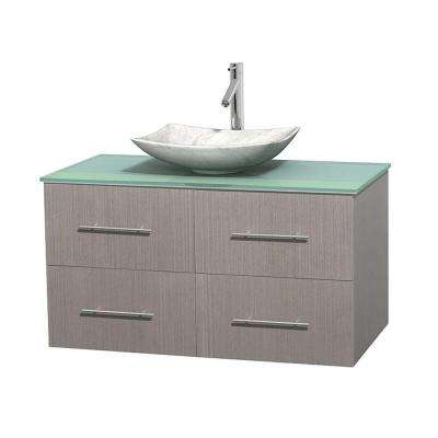 Centra 42 in. Vanity in Gray Oak with Glass Vanity Top in Green and Carrara Sink