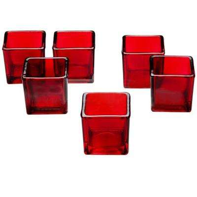 Red Glass Square Votive Candle Holders (Set of 12)