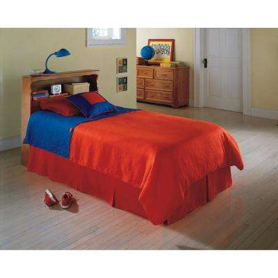 Barrister Twin-Size Wooden Headboard Panel with Flat Top Surface and Bookcase in Bayport Maple