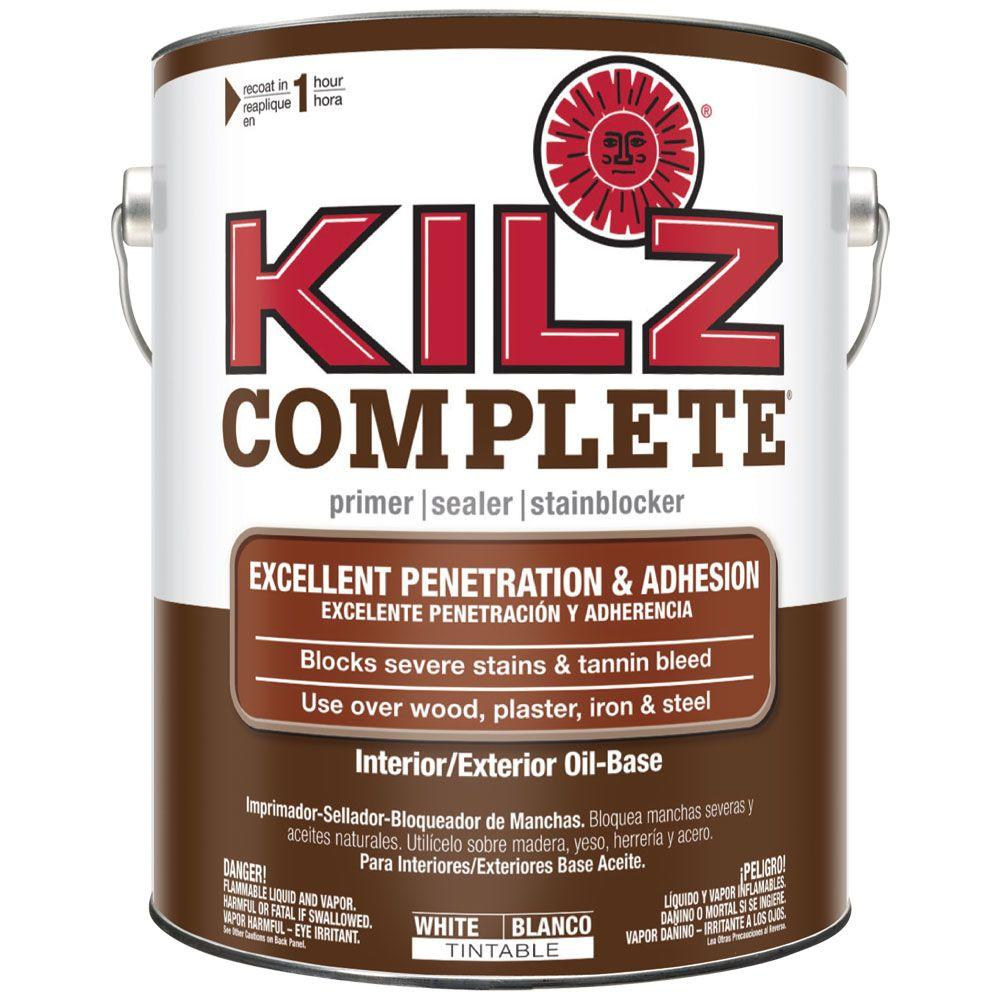 Kilz 1 Gal White Oil Based Interior Exterior Primer Sealer And Stain Blocker L101301 The