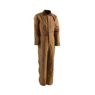 Men's Large Short Brown Duck Polyester and Cotton Deluxe Insulated Coverall
