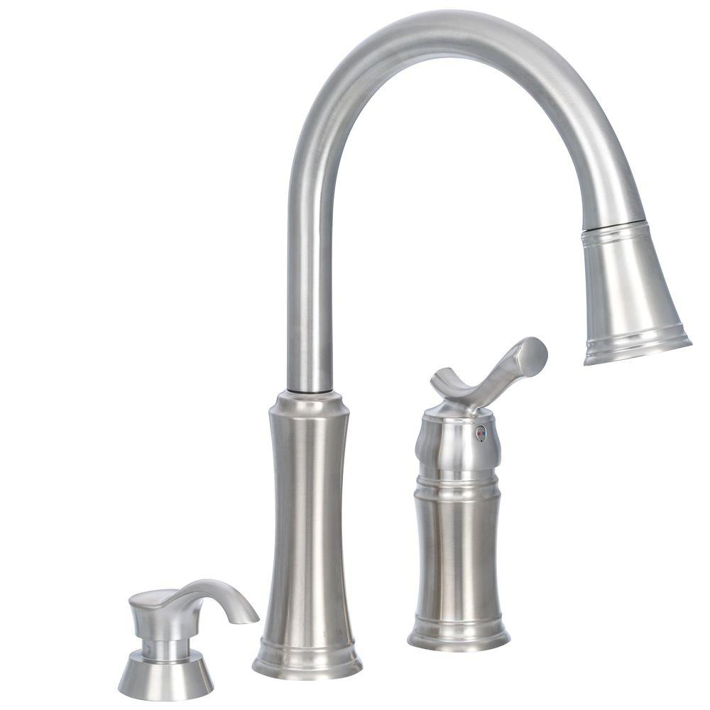 kitchen pull down faucet delta lakeview single handle pull down sprayer kitchen faucet with soap dispenser in stainless 6534