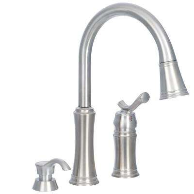 Lakeview Single-Handle Pull-Down Sprayer Kitchen Faucet with Soap Dispenser in Stainless