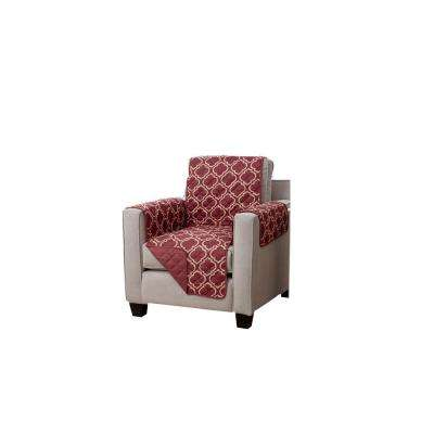 Adalyn Collection Burgundy Printed Reversible Chair Furniture Protector