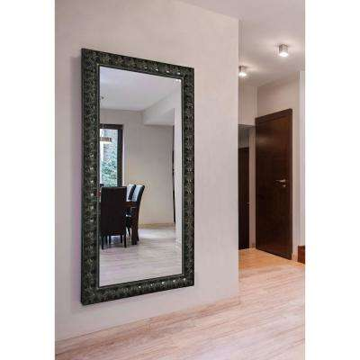 71 in. x 36 in. Feathered Accent Double Vanity Wall Mirror