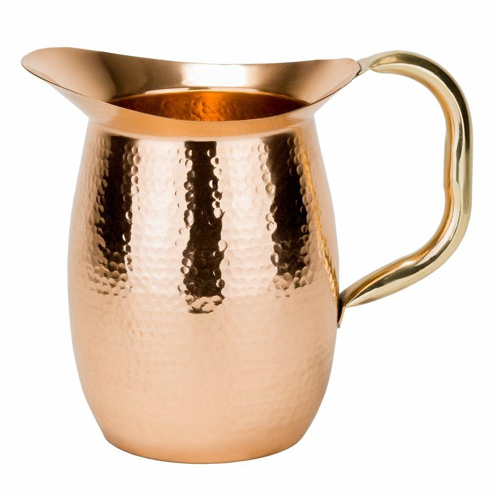 Old dutch 2 qt solid copper hammered water pitcher with brass solid copper hammered water pitcher with brass handle 1203 the home depot reviewsmspy