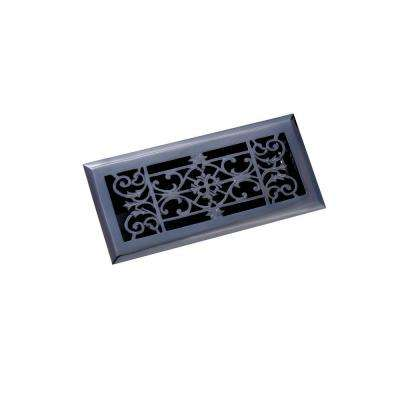 4 in. x 10 in. Decorative Floor Register, Antique Black
