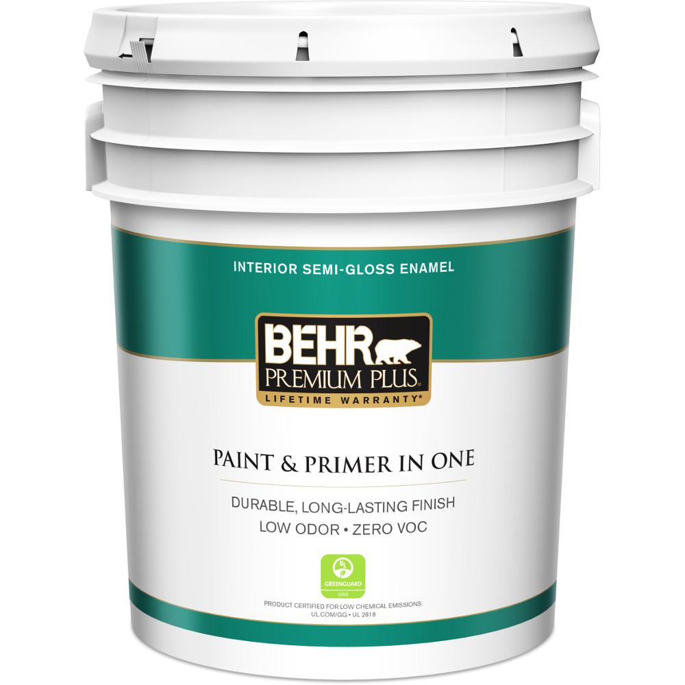 Behr Premium Plus 5 Gal Ultra Pure White Semi Gloss Enamel Zero Voc Interior Paint And Primer
