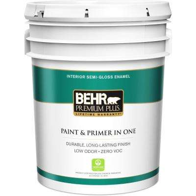 5 gal. Ultra Pure White Semi-Gloss Enamel Low Odor Interior Paint and Primer in One