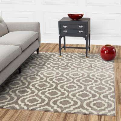 Jasmin Collection Moroccan Trellis Design Gray and Ivory 3 ft. x 10 ft. Runner Rug