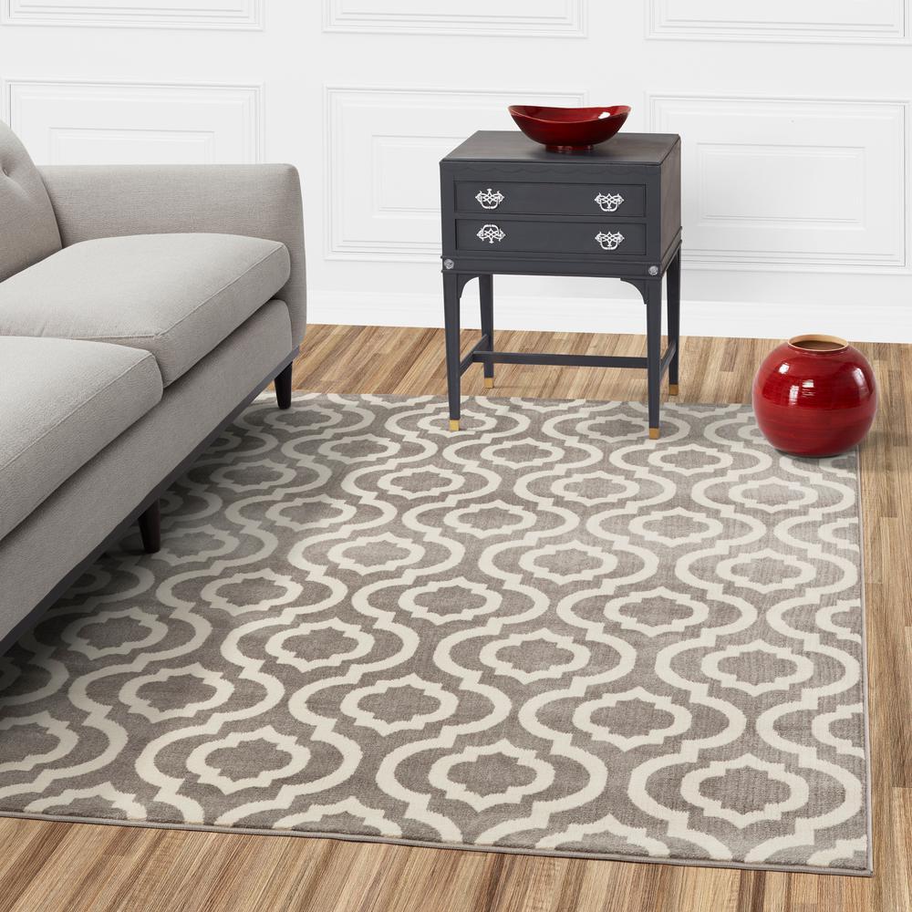 Diagona Designs Jasmin Collection Moroccan Trellis Design Gray And