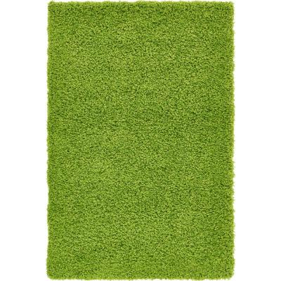 Solid Shag Grass Green 3 ft. x 5 ft. Area Rug