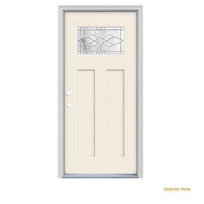 36 in. x 80 in. 1 Lite Craftsman Carillon Primed Fiberglass Prehung Right-Hand Inswing Front Door with Brickmould