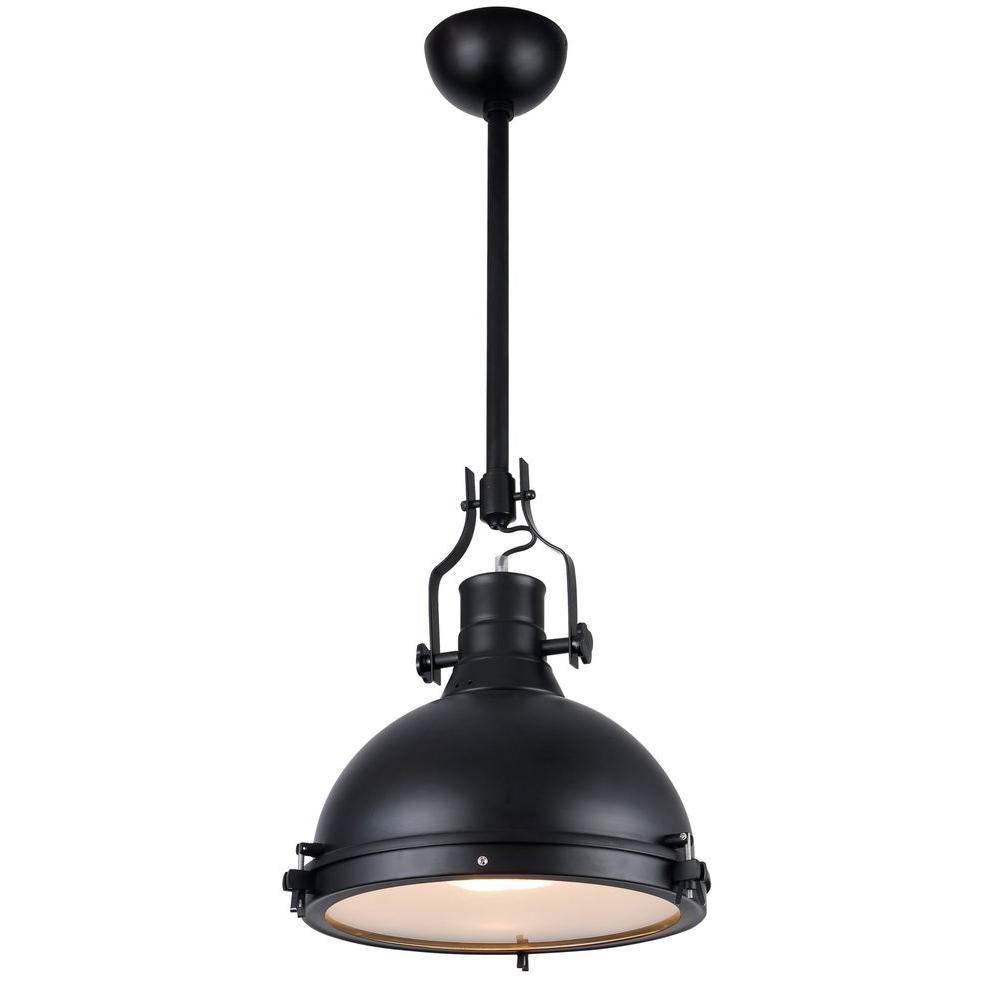 Go Home Black Industrial Kitchen Cart At Lowes Com: Elegant Lighting Industrial 1-Light Black Pendant Lamp