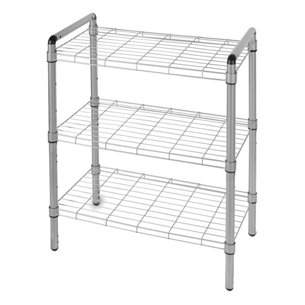 3 Tier Adjustable Wire Shelving With Extra Connectors For Stacking  Silver WS1003S   The Home Depot