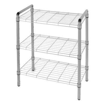 23 in. 3 Tier Adjustable Wire Shelving with Extra Connectors for Stacking Silver