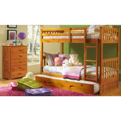 Honey Solid Pine Twin over Twin Bunkbed with Pull Out Twin Trundle