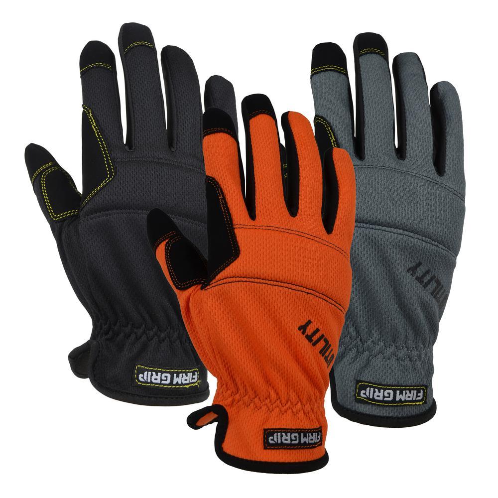 work gloves mechanic orange large 5pk Anti-Vibration Chainsaw made w// Kevlar