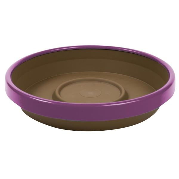 Terra 2 Tone 12 in. Chocolate with Passion Fruit Plastic Saucer