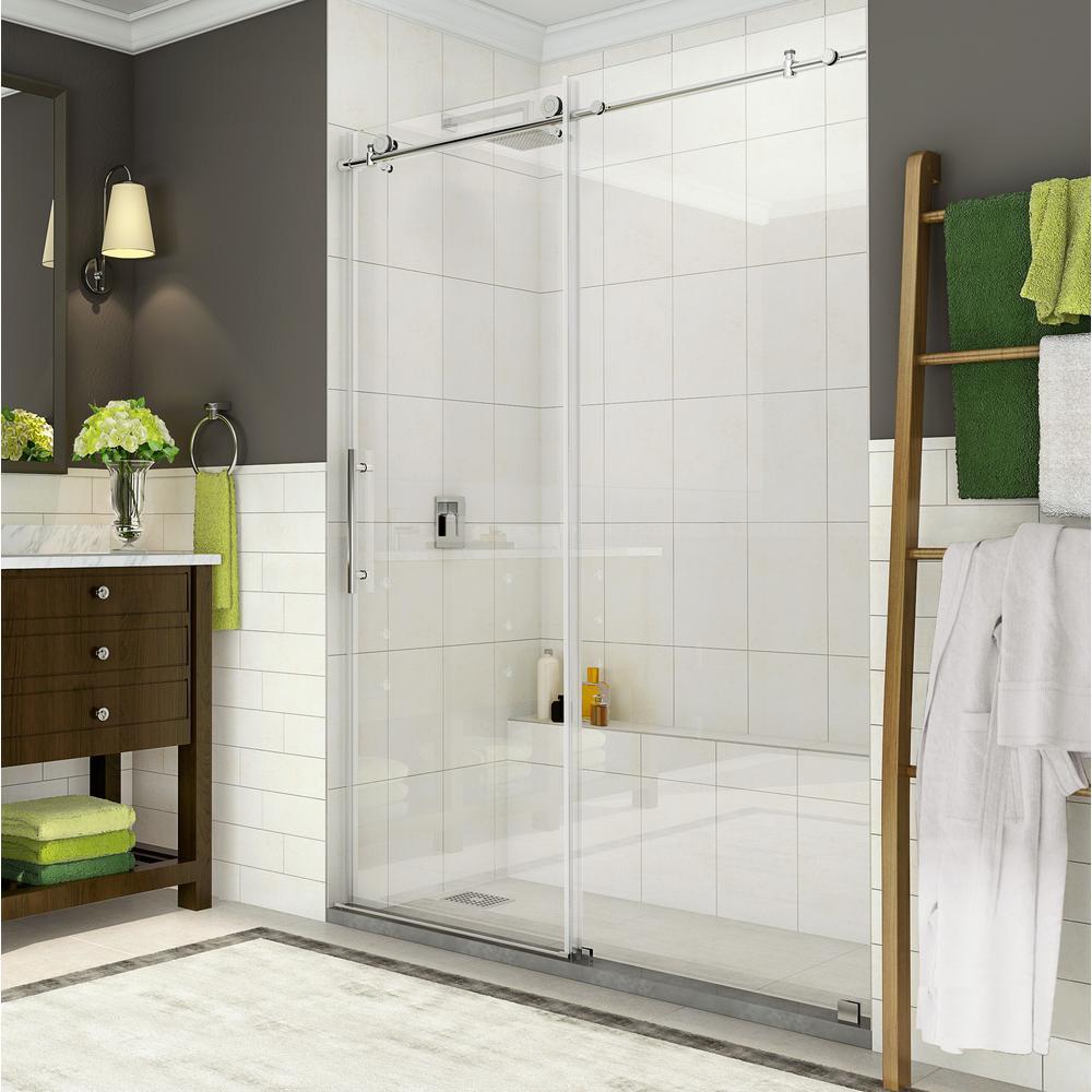 Coraline 56 - 60 in. x 76 in. Completely Frameless Sliding Shower Door in Polished Chrome
