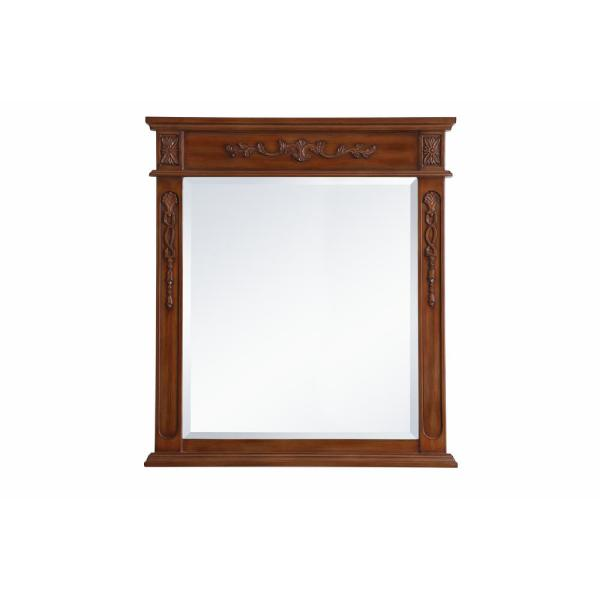 Medium Rectangle Teak Contemporary Mirror (36 in. H x 32 in. W)