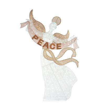 108 in. Christmas Warm White LED Angel with Peace Sign